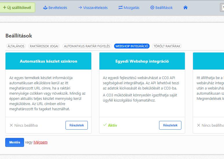 Webshop integrációk